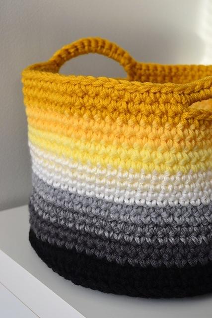 crochet yellow ombre basket
