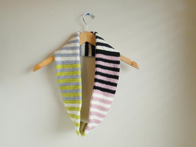 crochet stripe scarf