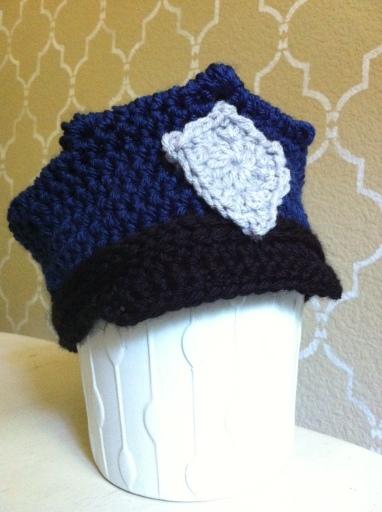 crochet baby police hat