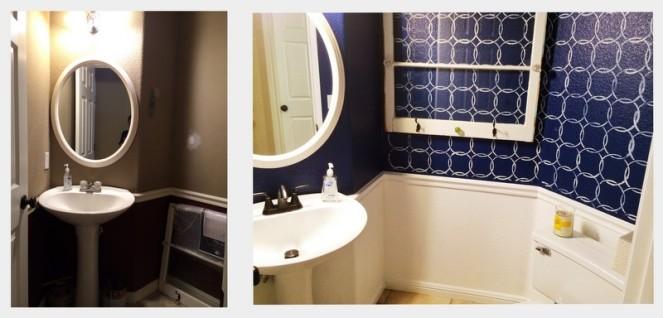navy bathroom redo