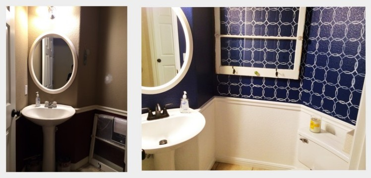 navy bathroom redo